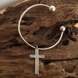 Cross Cuff Sterling Silver Bracelet